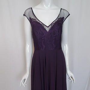 Hayley Paige Plum Lace Chiffon Bridesmaid Dress